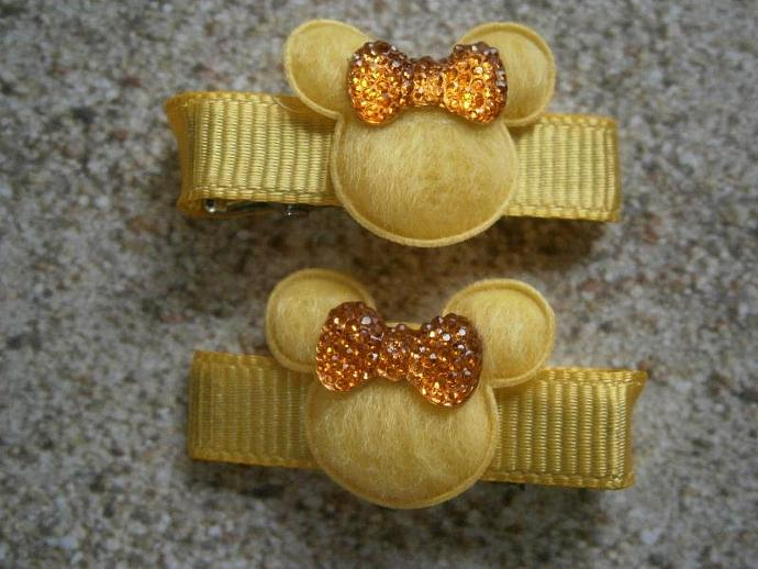 Yellow & Orange Minnie Mouse Barrettes with Non Slip Pads B30