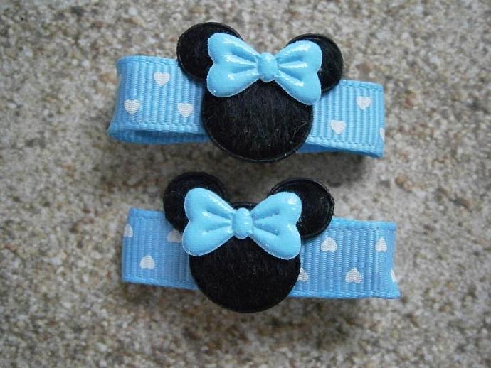 Light Blue Polka Dot Minnie Mouse Ribbon Barrettes B32