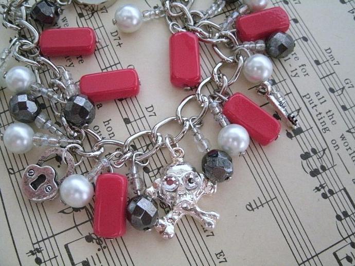 Skull And Crossbones Charm Bracelet, rockabilly jewelry steampunk jewelry gothic