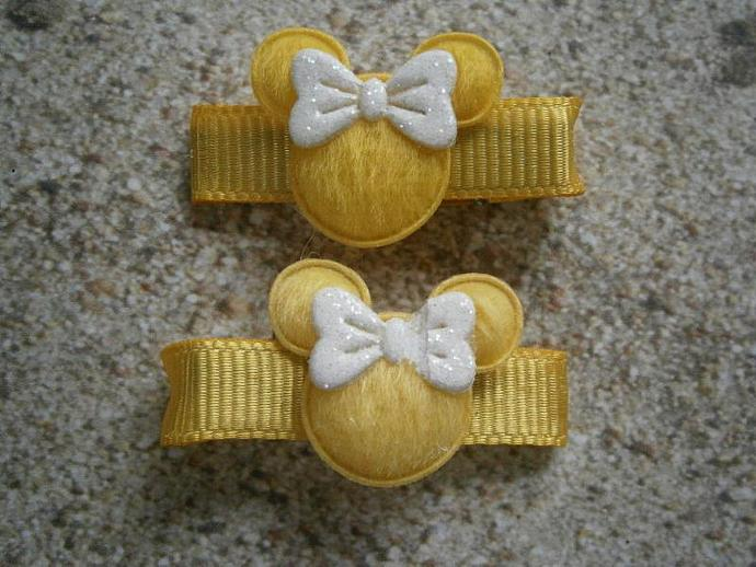 Yellow & White Minnie Mouse Barrettes with Non Slip Pads B35