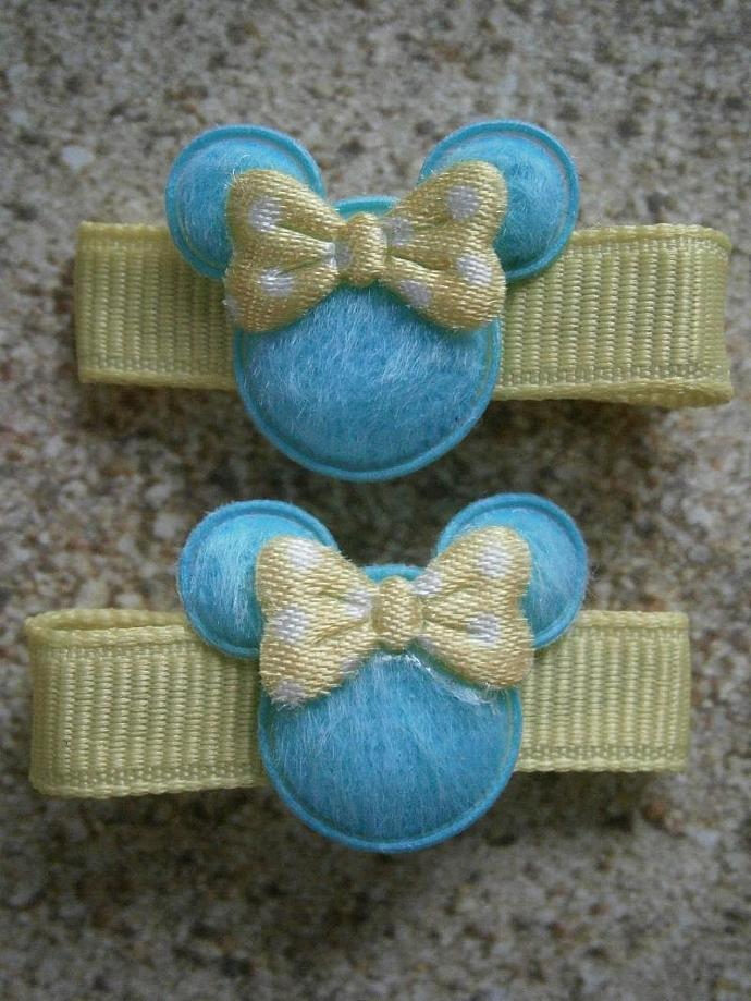 Light Blue & Yellow Minnie Mouse Barrettes with Non Slip Pads B37