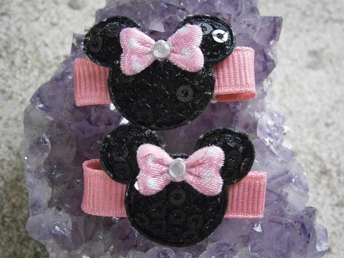 Pink & Black Sequined Minnie Mouse No Slip Barrettes B45