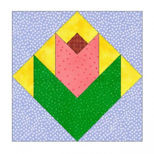 ALL STITCHES - ROSE BUD PAPER PIECING QUILT BLOCK PATTERN .PDF-116A
