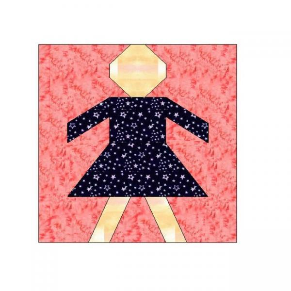 ALL STITCHES - GIRL PAPER PIECING QUILT BLOCK PATTERN .PDF -014A