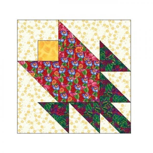 ALL STITCHES - TULIP PAPER PIECING QUILT BLOCK PATTERN .PDF -057A
