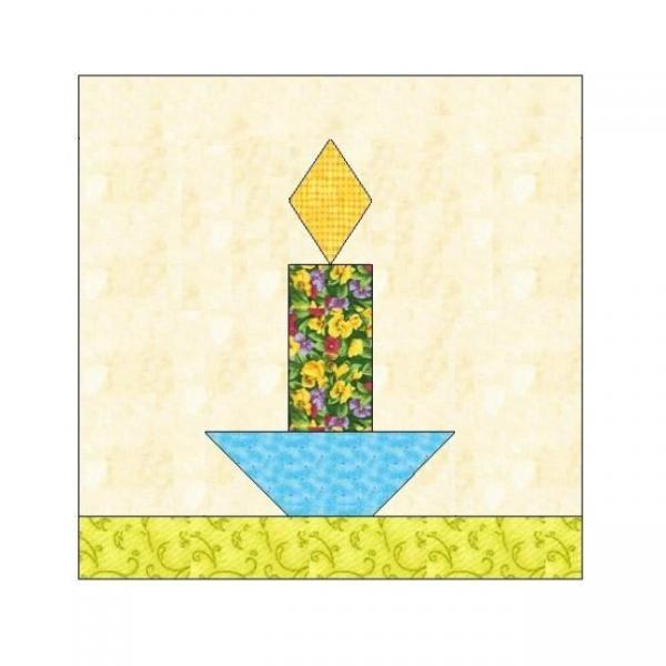 ALL STITCHES - CANDLE PAPER PIECING QUILT BLOCK PATTERN .PDF -011A