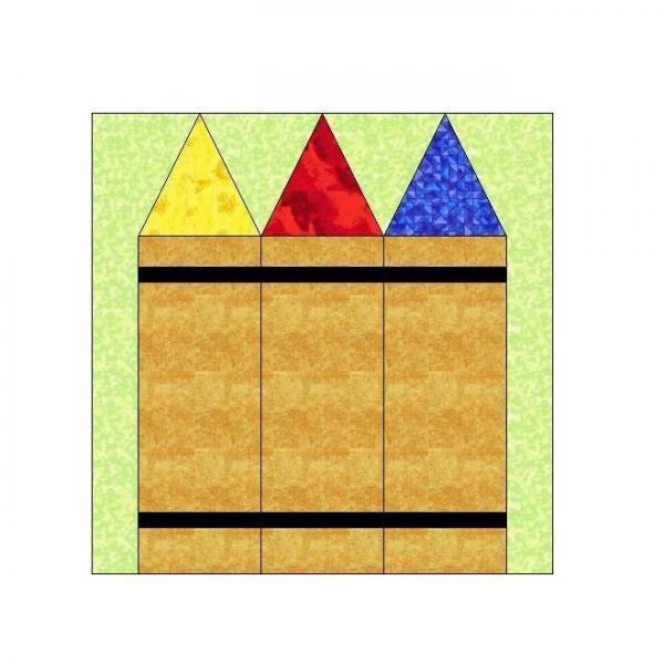 ALL STITCHES - CRAYONS PAPER PIECING QUILT BLCK PATTERN .PDF -094A