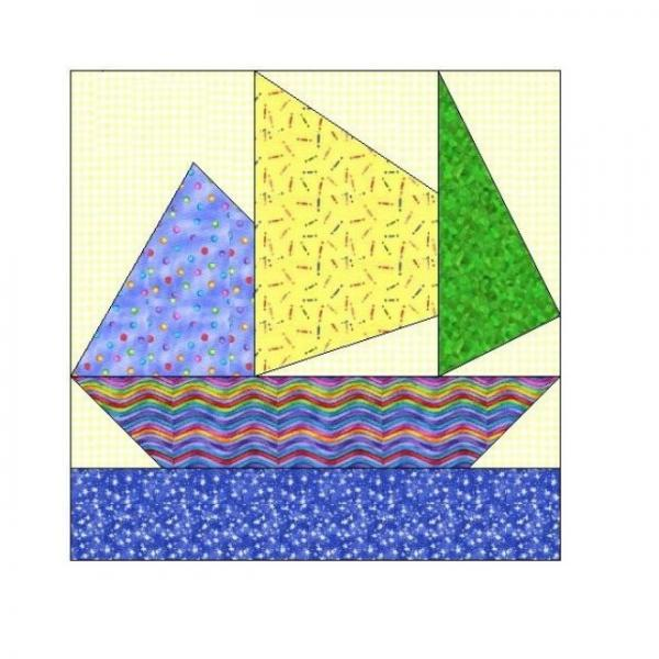 ALL STITCHES - SAILING PAPER PIECING QUILT BLOCK PATTERN .PDF -059A