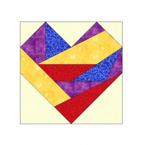 ALL STITCHES - CRAZY HEART PAPER PIECING QUILT BLOCK PATTERN .PDF-063A