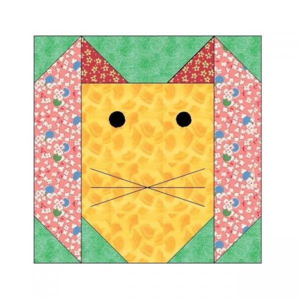 ALL STITCHES - BUNNY PAPER PIECING QUILT BLOCK PATTERN .PDF -086A