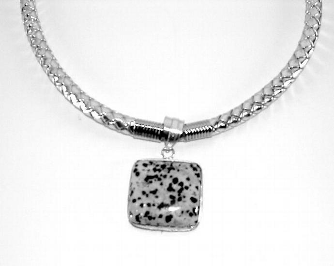 Choker, Dalmatian Agate, Silver Woven Leather, Sterling Silver Pendant