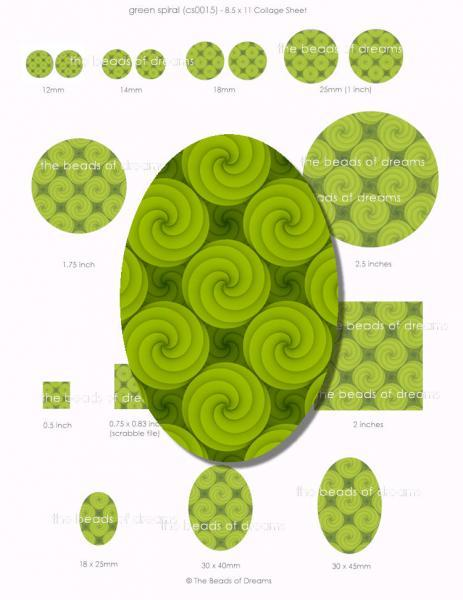 Digital collage sheet - Green spiral - 12mm 14mm 18mm 1inch 2inches 18x25mm