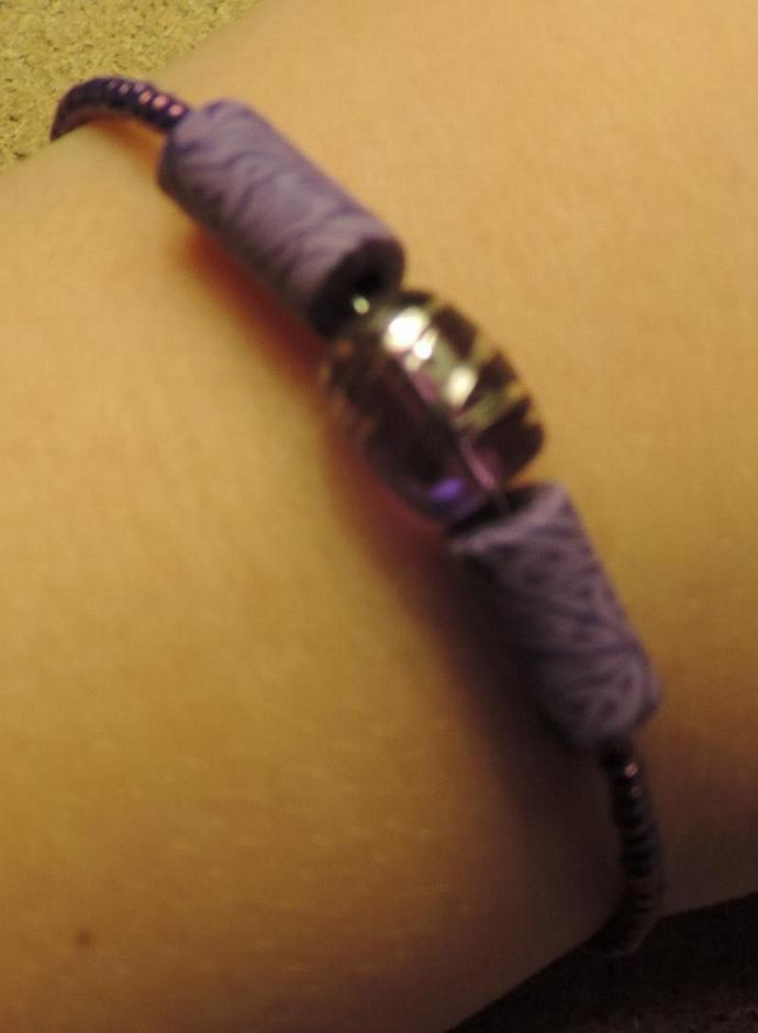 Purple glass and clay bracelet