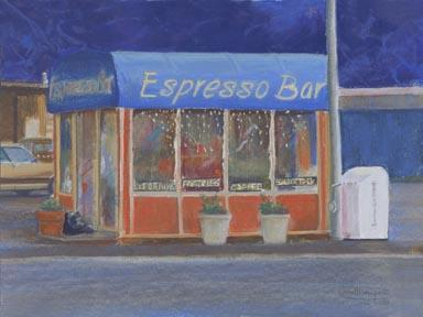 """Morning Coffee"" Canvas Giclee Print Espresso Stand by Carol Thompson"