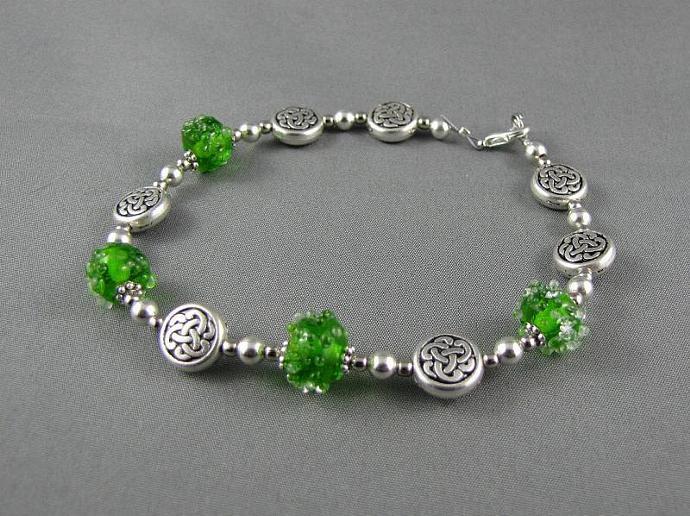 Green Glass Beaded Celtic Knot Bracelet