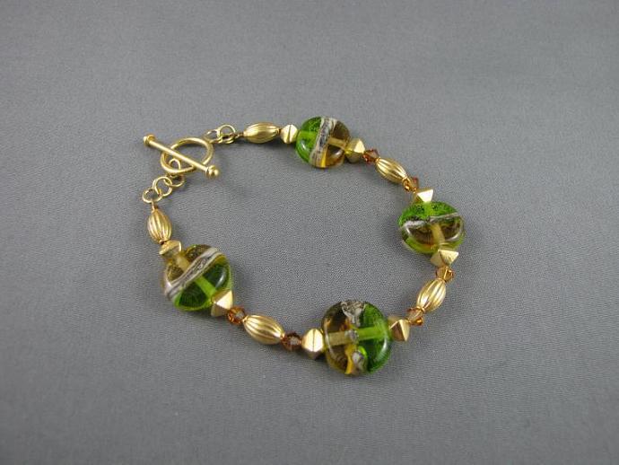 Green and Amber Gold Bracelet, Vermeil