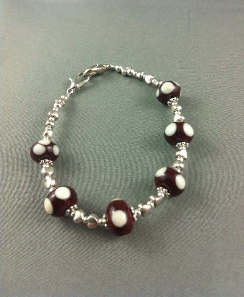 Medic Alert Bracelet - Red with Ivory Dots Glass Beaded
