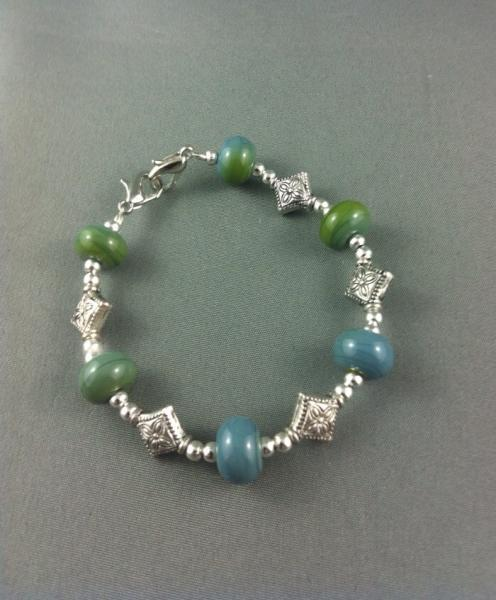Medic Alert Bracelet - Blue Green Glass Beaded