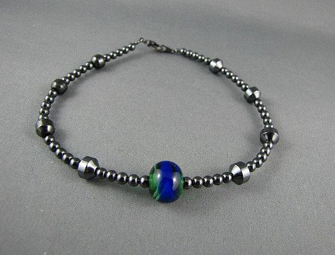 Magnetic Hematite Anklet with Green and Blue Lampwork Bead