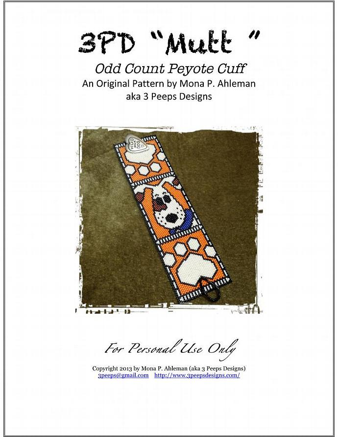 Mutt Peyote Cuff PDF Pattern by 3 Peeps Designs