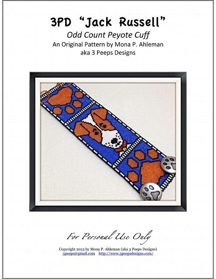 Jack Russell Terrier Peyote Cuff PDF Pattern by 3 Peeps Designs
