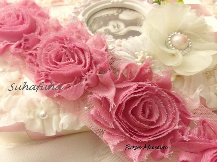 1 yd ROSE MAUVE Shabby Chiffon Frayed Rose Flower Trim for DIY Headbands,