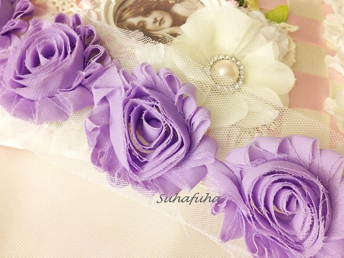 1 yd LAVENDER Shabby Chiffon Frayed Rose Flower Trim for DIY Headbands, garters,