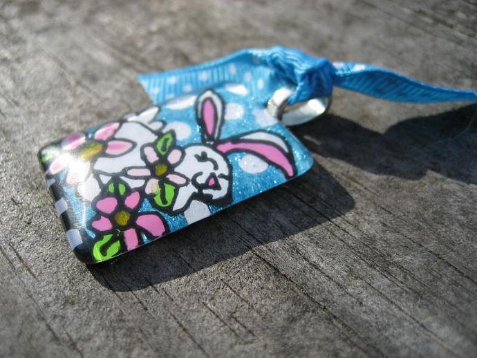 Original HandPainted on glass EASTER Bunny Rabbit Pendant Wearable Art Charm