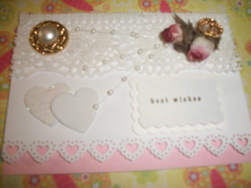Happy Wedding Day Lace and Roses Handmade Card