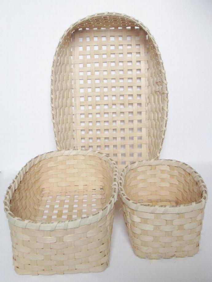 Hand Woven Storage Basket Set of Three, Shelf Baskets, Closet Baskets, Pantry