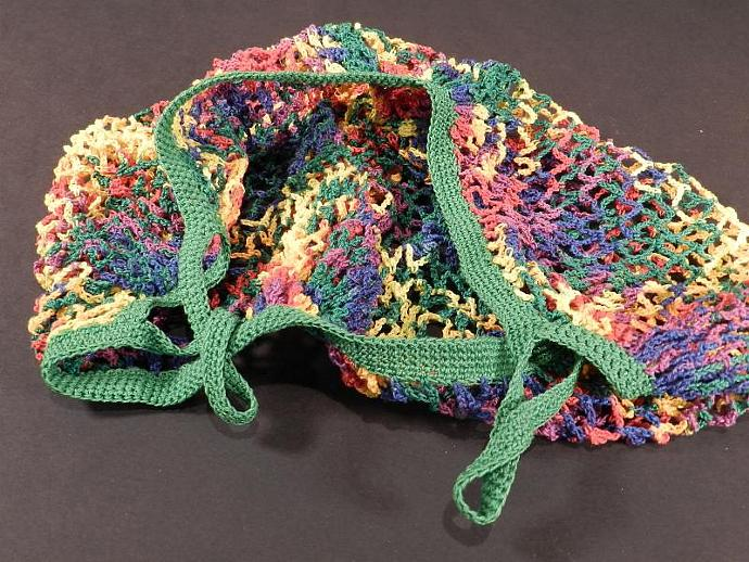 Crocheted Mesh Market Or Veggie Bag Bright Multi By Cozy On Zibbet