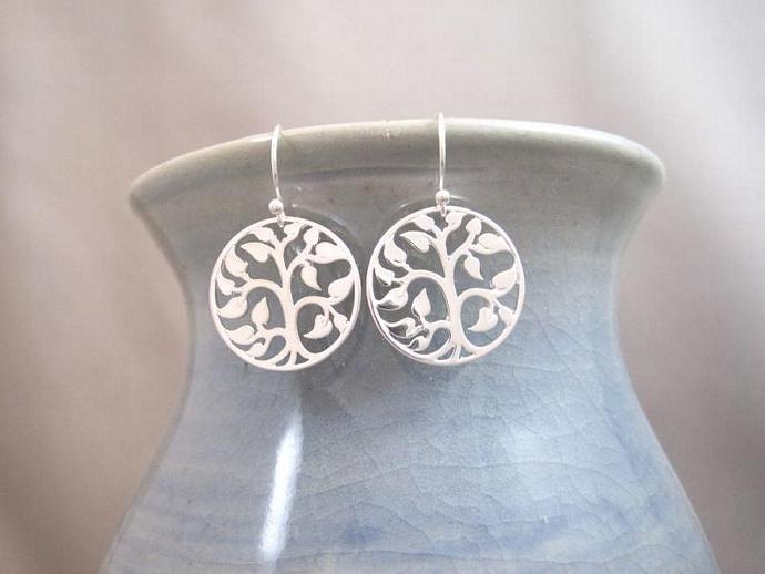 Tree of Life Earrings, Family Tree Earrings, Tree Earring, Silver Earrings