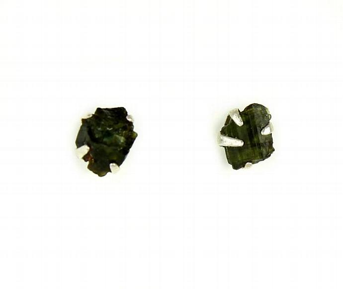 911663e51 Sterling Silver Raw Tourmaline Stud Earrings - Everyday Studs - Natural  Black