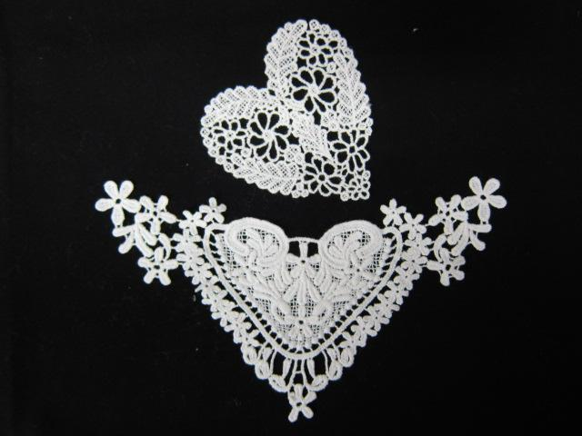 8 inch Heart Venice Appliques Set- White