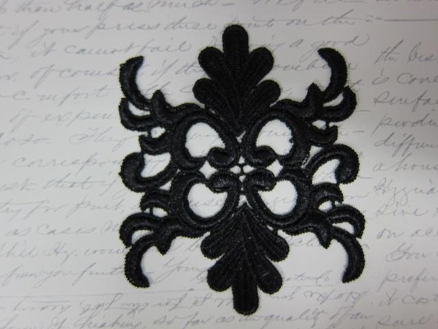 2pcs Venice Damask Applique Mask - Carnival-Black stl
