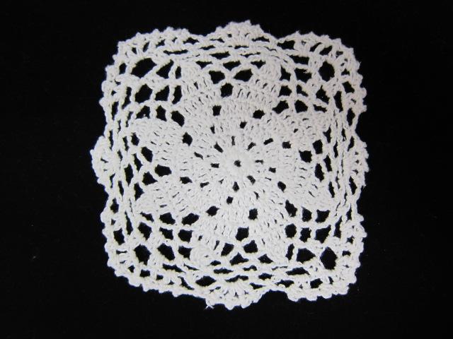 5 inch Square Crochet Doily - White, Cream