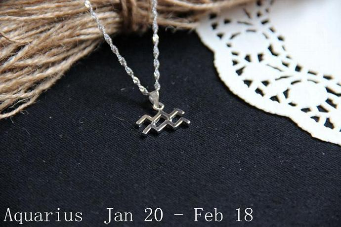 Aquarius Necklace, Aquarius Zodiac, Aquarius Charm Necklace, Silver Charm