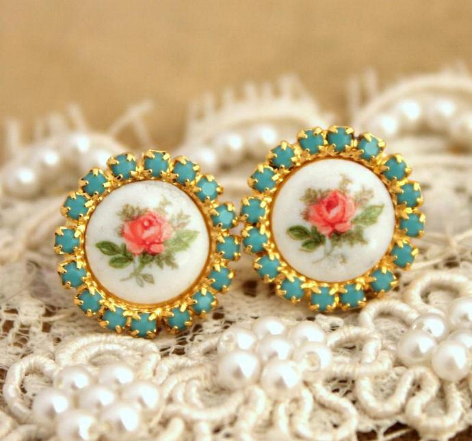 Vintage Rose Turquoise Earrings Victorian Shabby Chic Style 14k Gold Wedding