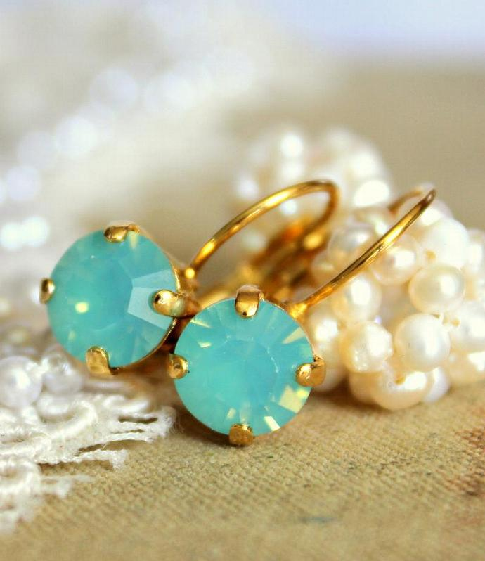 Mint Crystal Gold Earrings 14k Women Swarovski Wedding Bride Women Jewelry