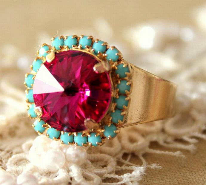 Pink Turquoise Adjustable Ring 14k Plated Gold Swarovski Rhinestone Jewelry