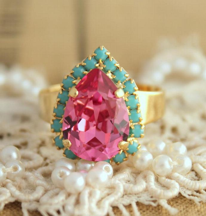 Pink Turquoise Adjustable Ring 14k Plated Gold Swarovski Rhinestones Wedding