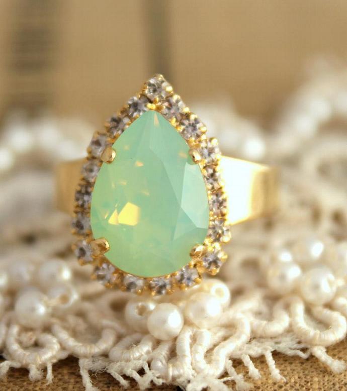 Mint Teardrop Adjustable Ring 14k Gold Swarovski Rhinestone Woman Weddings