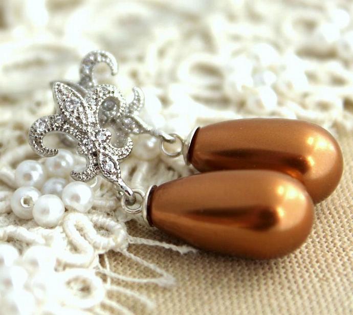 Flor De Lis Brown Pearl Earrings Jewelry Rhodium Brass Cz Zirconia Swarovski