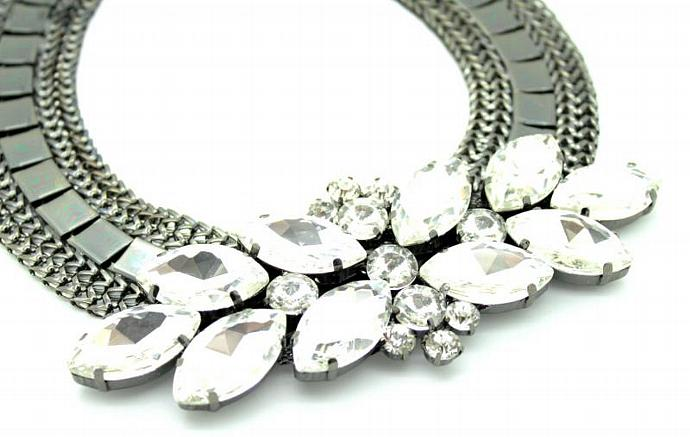 Swarovski Bib Rhinestone Necklace Black White Ruthenium Plating Gift Wedding
