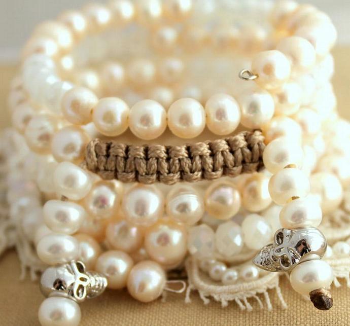 Women Boho Hippie Chic Bracelet Pearls Crystals Skulls Hand Made Fun Summer