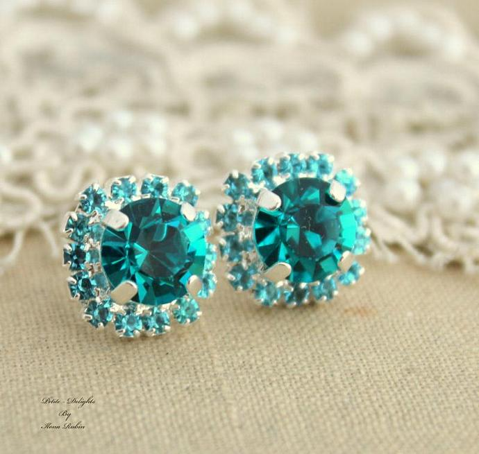 Blue Teal Rhinestone Swarovski Crystal Christmas Gift Silver Plated Earrings