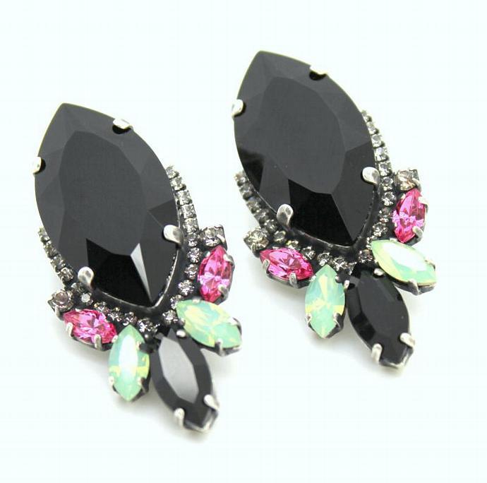 Black Pink Rhinestone Statement Earrings Oxidized Silver Plating Swarovski