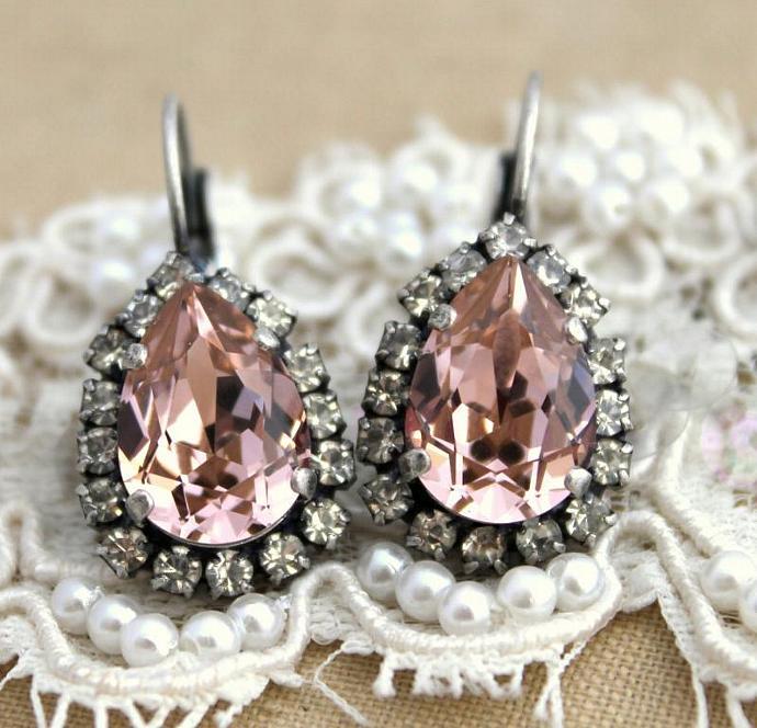 Rose Light Pink Teardrop Oxidized Silver Earrings Swarovski Weddings Womens