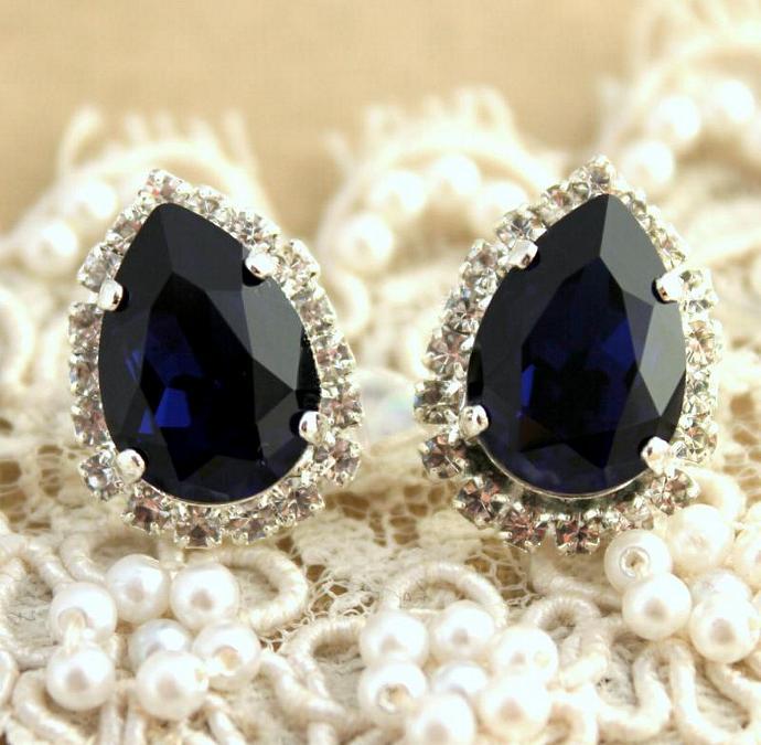 Weddings Jewelry Women Stud Blue Teardrop Silver Earrings Swarovski Crystal