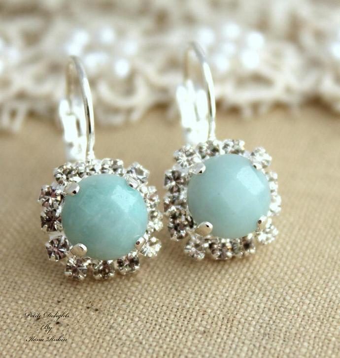 Silver Gemstone Crystal Leverback Earrings Bridal Jewelry Sillver Swarovski
